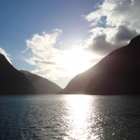Sunsetting on the Doubtful Sound Cruise