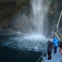 The dramatic waterfalls in Milford Sound